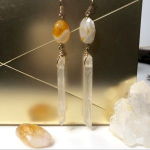 Raw Quartz Crystal Point and Citrine Earrings